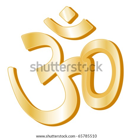 Hinduism Symbol. Golden Aumkar icon of the Hindu faith isolated on a white background.