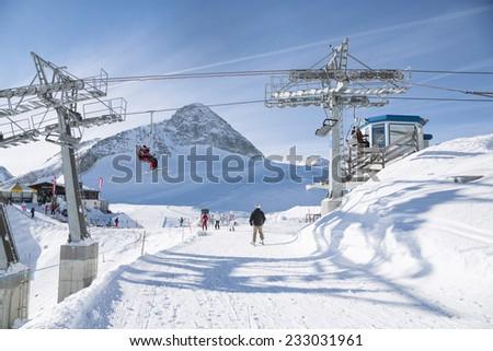 Hintertux Glacier with gondolas, ski runs and pistes in Ziilertal Alps. Austria - stock photo