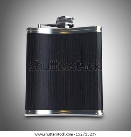 Hip flask. High resolution 3d render  - stock photo