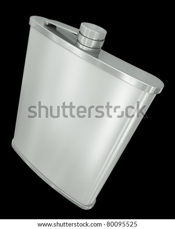 Hip flask isolated on black background. 3D render. - stock photo