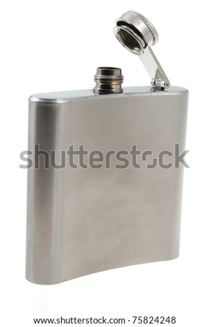 Hip flask isolated on white - stock photo