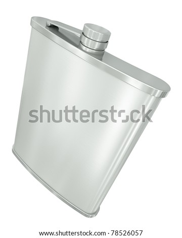 Hip flask isolated on white background. 3D render. - stock photo
