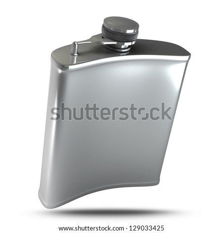 Hip flask isolated on white background. High resolution 3d render - stock photo