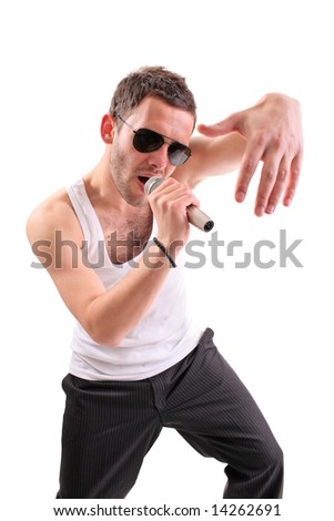 Hip hop artist isolated against white background - stock photo