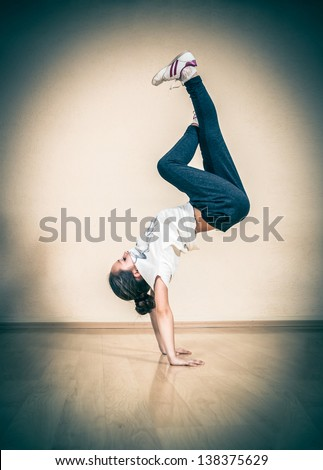 hip hop break or street dancer - stock photo