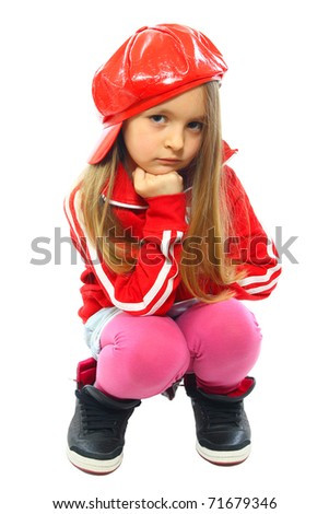 hip-hop cute little girl posing isolated on white - stock photo