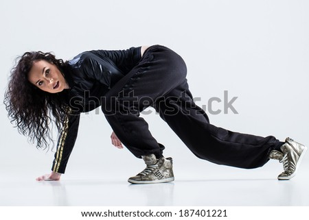 Hip-hop dancer on a white background