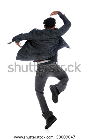 Hip Hop dancer performing isolated over white background
