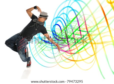 Hip hop dancer performing with light painting isolated over white background - stock photo
