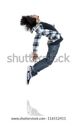 Hip hop dancer showing some movements on white. - stock photo
