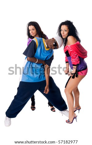 Hip-hop dancing team of male and two girls posing on white background - stock photo