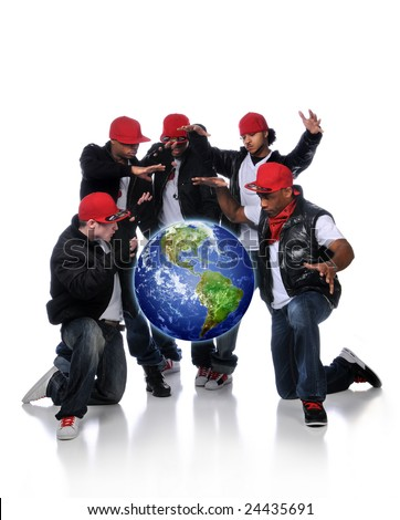 Hip Hop Men with earth suspended over a white background - stock photo