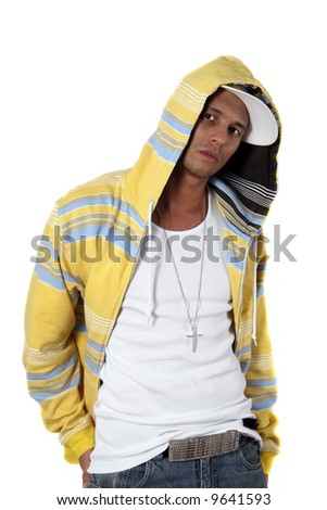 Hip-hop Model Young man with clothes in hip-hop style over pure white background. - stock photo