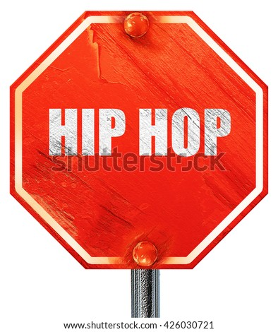 hip hop music, 3D rendering, a red stop sign - stock photo