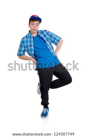 Hip-Hop style dancer performing isolated against a white background - stock photo