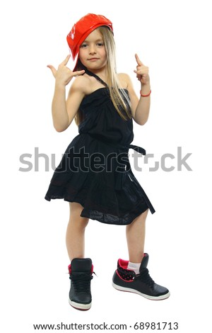 hip-hop sweet little girl posing isolated on white - stock photo