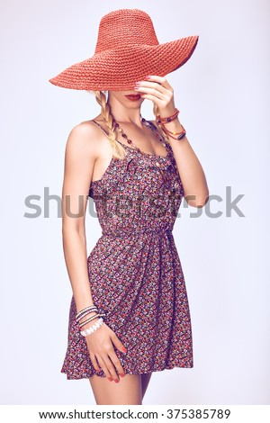 Hippie boho woman in hat. Beauty young playful positive blonde, pigtails, ethnic accessories relax, having fun. Floral sundress, romantic style. Attractive loving girl. Unusual creative,people - stock photo