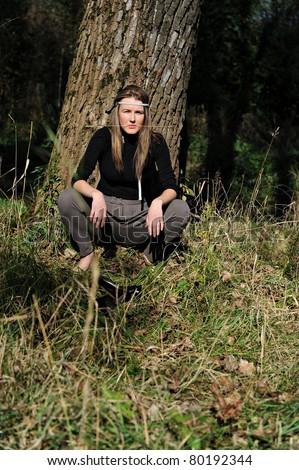 Hippie girl outdoors - stock photo