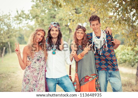 Hippie Group Outside - stock photo