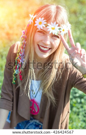 Hippie Style Girl Peace Sign Vintage Stock Photo Royalty