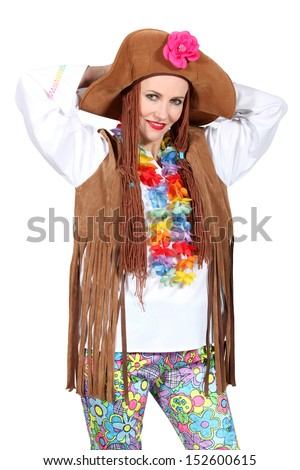 Hippie woman disguised - stock photo