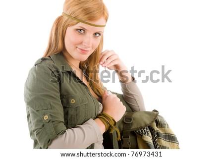 Hippie young woman in khaki outfit fashion portrait on white - stock photo