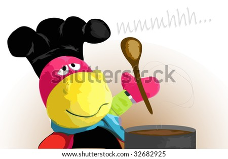 Hippo cartoon character cooking in a chef hat - stock photo