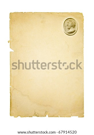 Hippocrates or Asclepius - the ancient healer. Antique greek doctor who became the god of medicine. Old sheet for the recipe with Asclepius and Caduceus. - stock photo