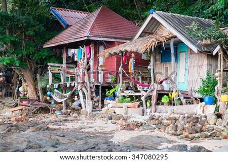 Hippy bungalows on the Kho Phayam Island  - stock photo