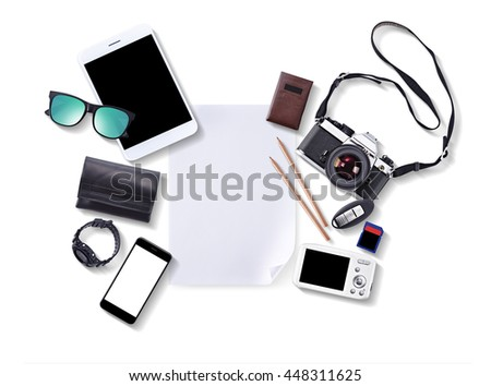 Hipster accessories, wallet, vintage camera, smart phone, sunglasses, Watch, car key, business card Cases, pencile, digital camera isolated on white blackground - stock photo