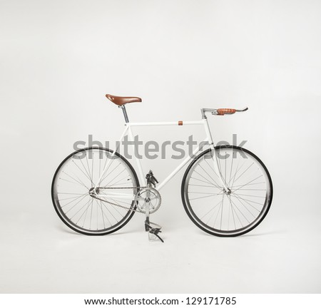hipster bicycle on white, fixed gear - stock photo