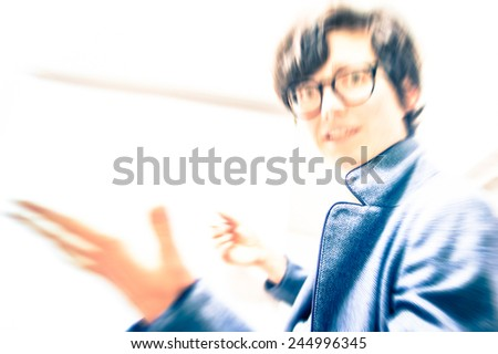 Hipster business woman sharing positive energy while explaining company developments - Concept of female emancipation and working professional success - stock photo