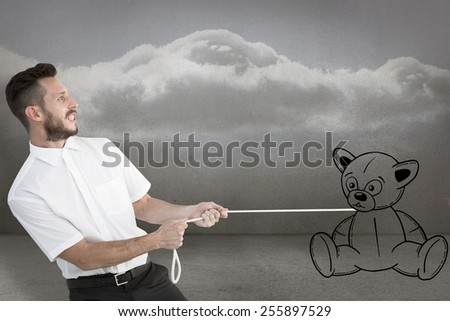 Hipster businessman pulling a rope against clouds in a room - stock photo
