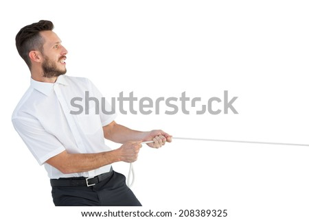 Hipster businessman pulling a rope on white background