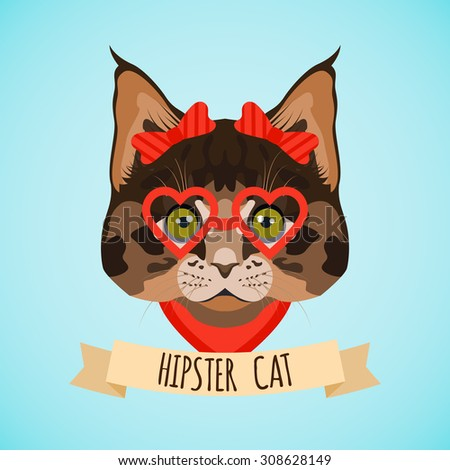 Hipster cat with glasses and bows portrait with ribbon poster  illustration - stock photo
