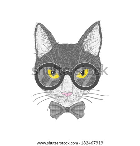 Hipster cat with glasses bow and yellow eyes isolated  illustration - stock photo