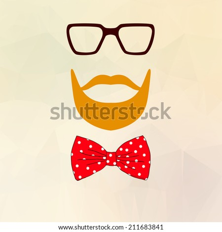 Hipster character design with hipster elements and icons.Vector illustration - stock photo