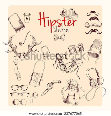Hipster character pack sketch set with moustaches and accessory isolated  illustration - stock photo