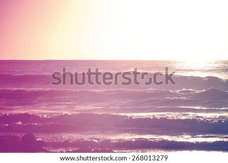 Hipster color surfing summer time at shorebreak beach. Chill out concept background. - stock photo
