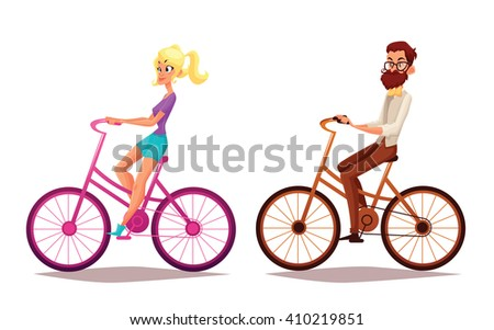 Hipster girl and boy riding bicycles, illustration cartoon vacation on bicycles, man with a beard and his girlfriend engaged in sport bikes, isolated people, blond girl, brunette boy, urban cyclist - stock photo