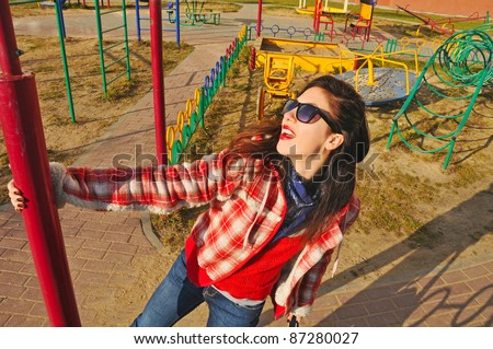 hipster girl fashion outdoor - stock photo