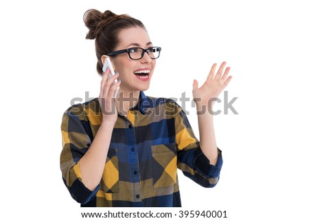 Hipster girl using smartphone - stock photo