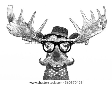 hipster glasses on moose, with hat, big handlebar mustache and polka dot bow tie, cartoon animal fashion statement, fun moose illustration is hand drawn, moose cartoon for trendy hipster lifestyle - stock photo