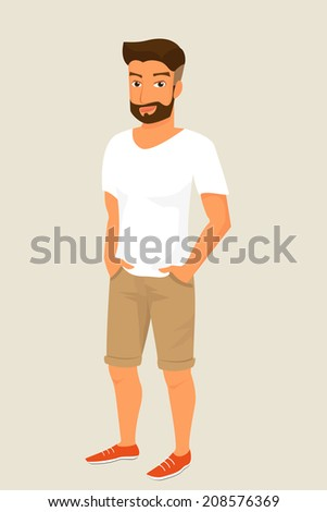 Hipster guy wearing beige shorts and white t-shirt. - stock photo