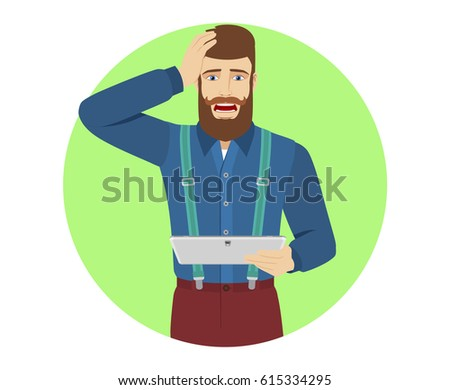 Hipster holding digital tablet PC and grabbed his head. Portrait of hipster in a flat style. Raster illustration.