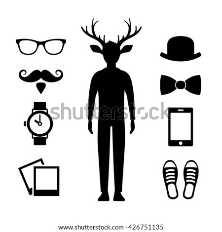 Hipster Icons Set with Deer Man Silhouette. illustration - stock photo