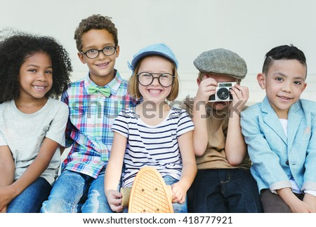 Hipster Kids Friends Playing Togetherness Fun Concept - stock photo