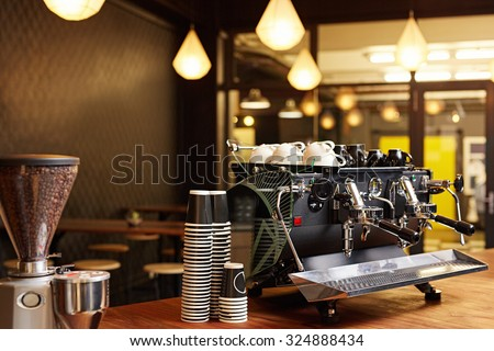 Hipster Looking Coffee Shop Ready Open Stock Photo