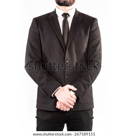 Hipster man in a classic suit isolated on white background. High resolution.