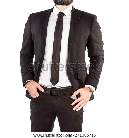 Hipster man in a classic suit isolated on white background. High resolution.  - stock photo